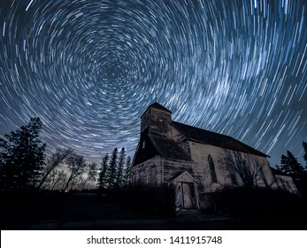 Astrophotography stars and Miklky Way over a Rural Abandoned Church