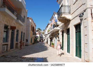Astros Village, Peloponnese / Greece - August 2018: The Astros village, popular summer destination in the Peloponnese