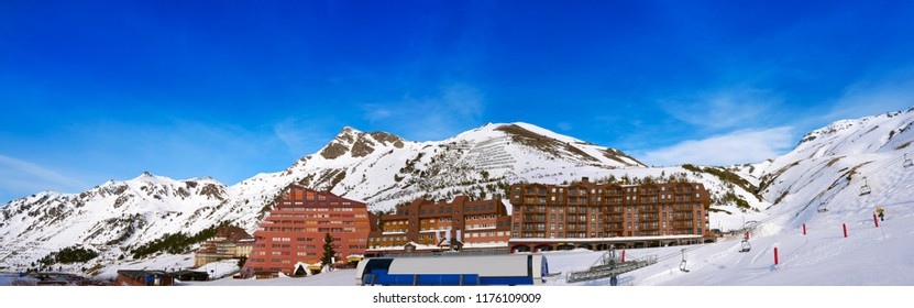 Astun ski area in Huesca on Pyrenees at Spain