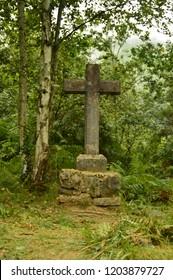 Asturias Cross On The Camin Encantau Route In The Council Of Llanes. Nature, Travel, Landscapes, Forests, Fantasy. July 31, 2018. Valle De Ardinasa, Venta Village, Asturias, Spain.