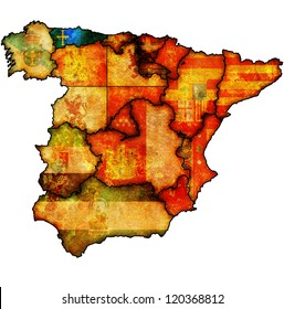 asturias region on administration map of regions of spain with flags and emblems