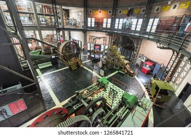 Asturias, Spain - November 19, 2018: Mining museum of Asturias, The complex includes the information on mining activity that developed in the coalfields of Asturias