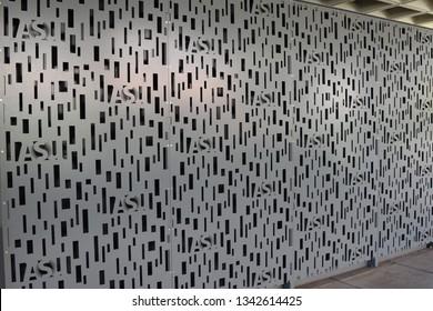 ASU design cut into metal lockers at Arizona State University Tempe Arizona 3/16/19