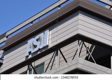 ASU sign on building Arizona State University Tempe Arizona 3/16/19