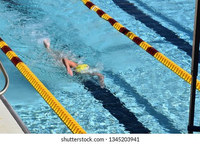 ASU swimmer doing the freestyle stroke at Arizona State University Tempe Arizona 3/16/19