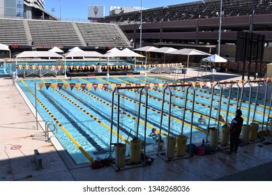 ASU swimmers in pool Arizona State University Tempe Arizona 3/16/19