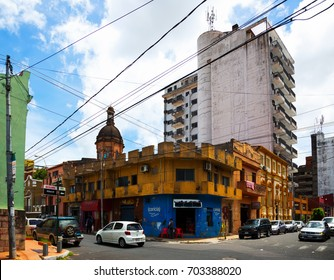 ASUNCION, PARAGUAY - FEBRUARY 15, 2017:  Central urban districts with interesting architecture of Paraguayan capital city. Asuncion, Paraguay