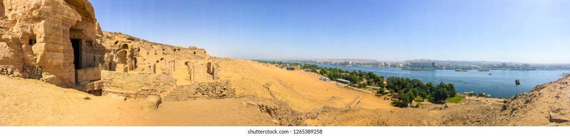 Aswan City in Upper Egypt, Shot for the City and the Nile River from the top of Noble Tombs mountain
