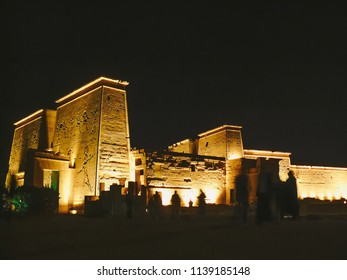 Aswan, Egypt -  2008 - A night view for temple of goddess Isis at Philae Complex  at the Light and sound night show the sacred site was venerated from the Pharaonic era up to the Greek, Roman.