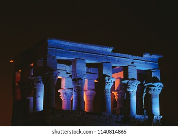 Aswan, Egypt -  2008 - A night view for Trajan's Kiosk of Philae Temple    at the Light and sound night show the sacred site was venerated from the Pharaonic era up to the Greek and Roman.