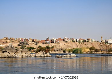 ASWAN, EGYPT - 29 APRIL 2019: A scene on the Nile River in Aswan, Egypt. Aswan is a city on the Nile River that has been southern Egypt's strategic and commercial gateway since antiquity. Editorial