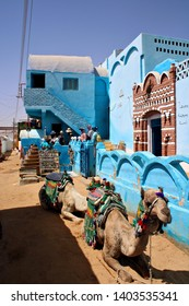 ASWAN, EGYPT - 4 MAY 2019: A building in a Nubian Village near Aswan, Egypt. Nubians are an ethnolinguistic group of Africans who originate from the early inhabitants of the Nile valley. Editorial.