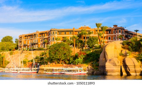 ASWAN, EGYPT - DEC 2, 2014: Boats on the Nile, one of the longest river in the world