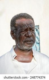 ASWAN, EGYPT - DEC 2, 2014: Unidentified Egyptian man portrait. 90% of Egyptian people are Muslim