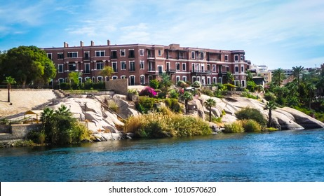 "ASWAN, EGYPT - February, 2015: Hotel Old Cataract where Agatha Christie wrote her novel ""Death on the Nile"" in Aswan, Egypt"