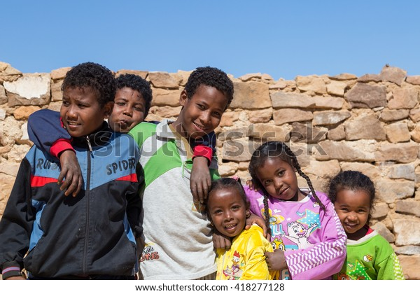 Aswan Egypt February 7 2016 Group Stock Photo (Edit Now) 418277128