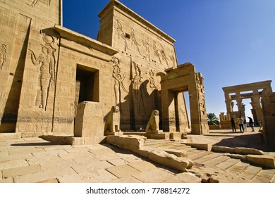 ASWAN, EGYPT, JANUARY 19, 2010. Philae Temple (also called the Temple of Isis) was moved to Agilkia Island when construction of the Aswan High Dam threatened to submerge it permanently.