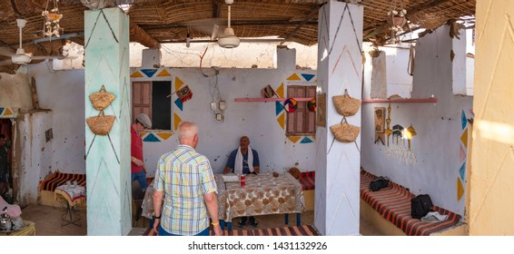 ASWAN, EGYPT - JUNE 4, 2019: Interior of an traditional Nubian house