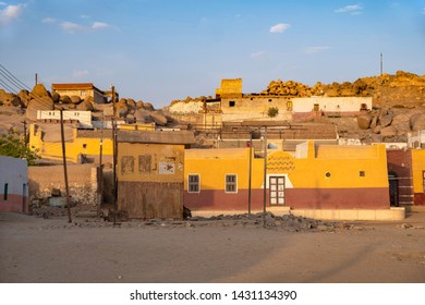 ASWAN, EGYPT - JUNE 4, 2019: View of an traditional Nubian village