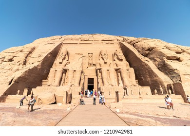 Aswan, Egypt - September 11, 2018: Abu Simbel, the Great Temple of Ramesses II, Egypt