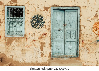 Aswan - Egypt / September 2018: An old Nubian house with classical architecture at heisa island close to Aswan dam.