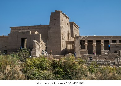 Aswan/Egypt - 1/24/2018 : Philae temple and island in the reservoir of the Aswan Low Dam, downstream of the Aswan Dam and Lake Nasser, Egypt.