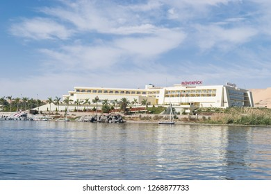 Aswan/Egypt - 1/25/2018: Beautiful scene for Movenpick Aswan ,Nile river and boats from Luxor and Aswan tour in Egypt