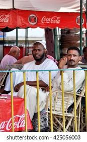 ASWAN,EGYPT - SEPTEMBER 21,2010:Men sitting in a cafe in Aswan.Egypt