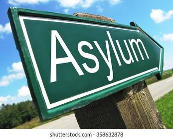 Asylum road sign
