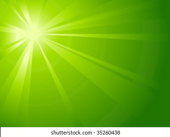 Asymmetric green light burst with  the centre in the upper left third.  Also available as vector.