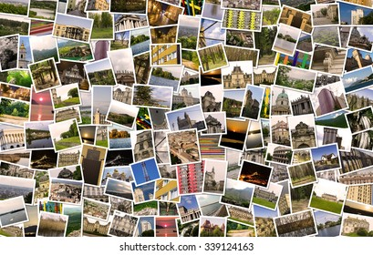 Asymmetrical mosaic mix collage of 200+ photos of different places, landscapes, objects  shot by myself during Europe travels warm filtered