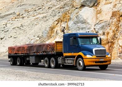 ATACAMA, CHILE - NOVEMBER 14, 2015: Semi-trailer truck Freightliner Columbia at the interurban road.