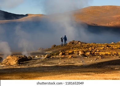 Atacama Desert. Chile. 03.25.05. Geo-thermal steam vents at El Tatio Geyser Field. El Tatio is located in the Andes Mountains of northern Chile at 4,200m above sea level.