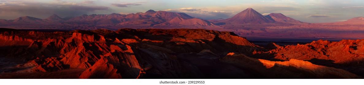 Atacama desert at sunset, Valle de la Luna, Chile