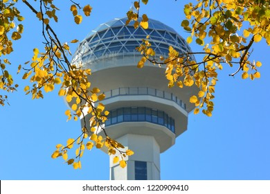 Atakule in Autumn - Ankara / Turkey - November 03 2018: Atakule is the most known symbol of the Ankara, Turkey
