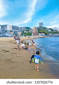 ATAMI, JAPAN - MAY 06, 2018 : View of Sun Beach - Atami city, Shizuoka prefecture, Japan