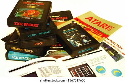 Atari 2600 video games and game manuals from circa 1982. Vintage video games.  For illustrative editorial use.