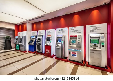 Atasehir, Istanbul, Turkey - November 24, 2018; Cash dispenser from different banks  ATMs in a shopping center in Istanbul.