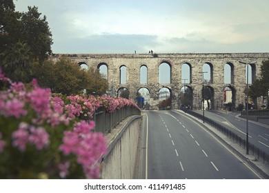 Ataturk Boulevard and Valens Aqueduct in Istanbul, Turkey