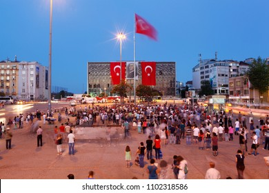 Ataturk Culture Center (AKM) buildind and Taksim Square in Istanbul  on June 19, 2013 in Istanbul