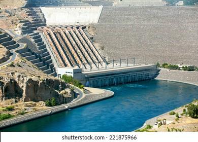 Ataturk Dam on the Euphrates River, Turkey