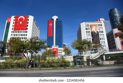 Ataturk flag on a building for the celebration of Republic in Maslak, Istanbul, Turkey, 2018