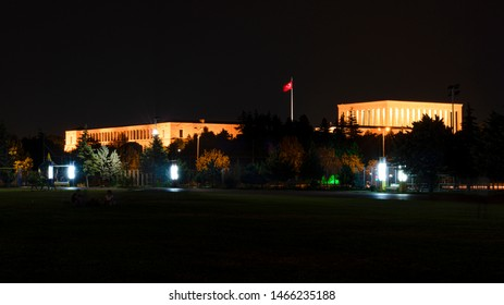Ataturk Mausoleum at night, Anitkabir, monumental tomb of Mustafa Kemal Ataturk, first president of Turkey in Ankara