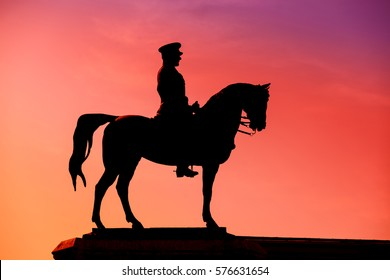 Ataturk statue silhouette, that located at Ankara, Ulus square, turkey
