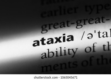 ataxia word in a dictionary. ataxia concept.