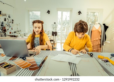 Atelier of mother. Future creative fashion designers working in the atelier of their mother