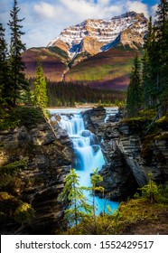 Athabasca Falls in Jasper National Park on the upper Athabasca River , Jasper National Park, Alberta, Canada, Icefield Parkway.
