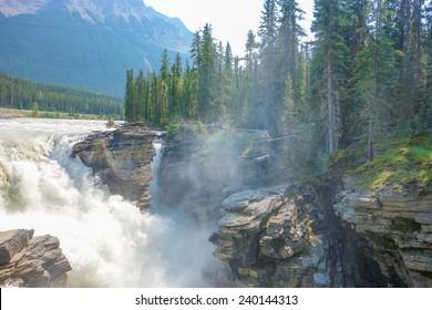 Athabasca Falls in Jasper National Park in Alberta Canada