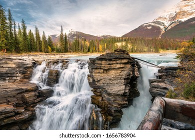 Athabasca falls rapids flowing is waterfall in Jasper national park, Alberta, Canada