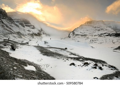 Athabasca Glacier in winter. Columbia Icefields, Jasper National Park, Alberta, Canada